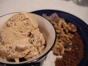 Photo of Chocolate Chunk Cookie Ice Cream with ingredients in background